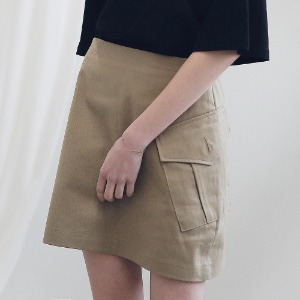 아더로브 ARDOROBE - CARGO TWILL COTTON SKIRT ASK191002-BG