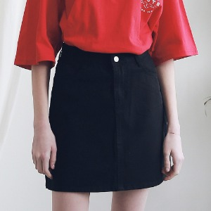 아더로브 ARDOROBE - BASIC TWILL COTTON SKIRT ASK191001-BK