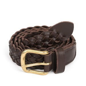 와일드브릭스 WILD BRICKS - BS WOVEN LEATHER BELT (dark brown)
