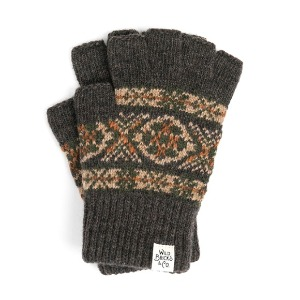 와일드브릭스 WILD BRICKS - LW FAIR ISLE FINGERLESS GLOVES (brown)