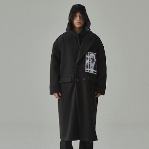 완톤 WANTON - FACE LONG COAT BLACK