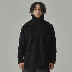 완톤 WANTON - LONG NECK WOOL ZIPUP BLACK