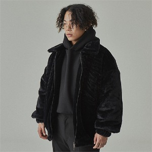 완톤 WANTON -  WANTON FAKE ANGORA FUR JAKET BLACK
