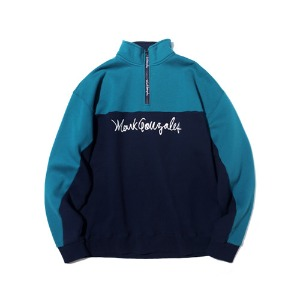 마크 곤잘레스 MARK GONZALES - M/G HALF ZIP-UP SWEATSHIRT BLUE