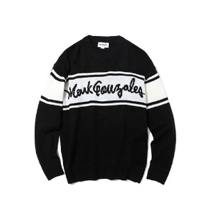 마크 곤잘레스 MARK GONZALES - BLOCK LOGO KNIT SWEATER BLACK