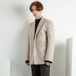 우니베르소 UNIVERSO - HOUND CHECK WOOL 2-BUTTON JACKET-IVORY