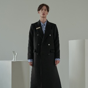 우니베르소 UNIVERSO - SIGNATURE CLIP OVER WOOL DOUBLE BREASTED COAT-BLACK
