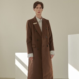 우니베르소 UNIVERSO - SIGNATURE CLIP OVER WOOL DOUBLE BREASTED COAT-BROWN