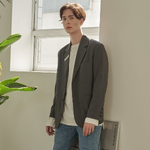 우니베르소 UNIVERSO - SIGNATURE CLIP 2-BUTTON JACKET-GREY