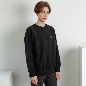 우니베르소 UNIVERSO - PLANET LOGO FLEECE CREWNECK-BLACK