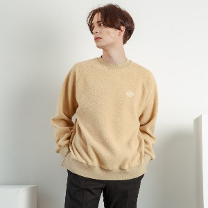 우니베르소 UNIVERSO - PLANET LOGO FLEECE CREWNECK-BEIGE