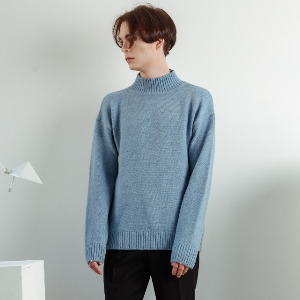 우니베르소 UNIVERSO - SQUARE LOGO HALF NECK KNIT-BLUE
