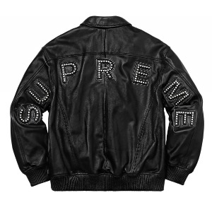 *국내배송* 슈프림 Supreme Studded Arc Logo Leather Jacket Black
