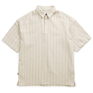 뮤닌스테이션 MUNINNSTION -  ONE BUTTON STRIPE LINEN SHIRTS [OATMEAL]