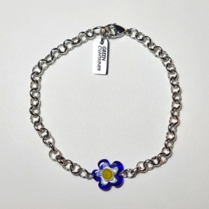 그린컨테이너 - FLOWER STONE CHAIN BRACELET (NAVY)