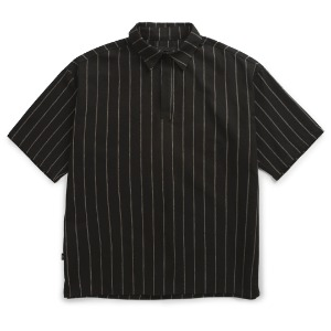 뮤닌스테이션 MUNINNSTION -  ONE BUTTON STRIPE LINEN SHIRTS [BLACK]